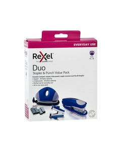REXEL DUO STAPLER AND PUNCH BLUE VALUE PACK