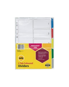 MARBIG DIVIDER PP 5-TAB A4 ASSORTED
