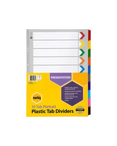 MARBIG DIVIDER REINFORCED MANILLA 10-TAB A3 ASSORTED