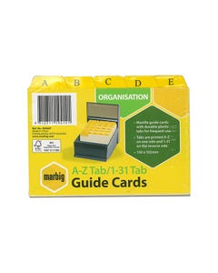 MARBIG GUIDE CARD A-Z/1-31 111 X 152MM MANILLA PACK 30