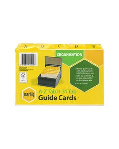 MARBIG GUIDE CARD A-Z/1-31 203 X 127MM MANILLA PACK 30