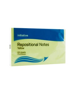 INITIATIVE REPOSITIONAL NOTES 75 X 125MM YELLOW PACK 12