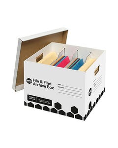 MARBIG FILE AND FIND ARCHIVE BOX WITH DIVIDERS