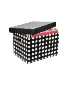 MARBIG ARCHIVE BOX PATTERNED BLACK TARTAN