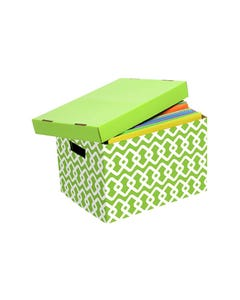 MARBIG ARCHIVE BOX PATTERNED LIME/WHITE