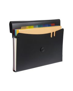 MARBIG EXPANDING FILE WITH 7 REMOVABLE POCKETS PP A4 BLACK