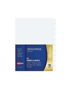 AVERY 16063 L7455-10 FLEXI-VIEW DIVIDER UNPUNCHED TRANSLUCENT 10 TAB SET 5