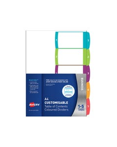 AVERY 922002 L7411-5 CUSTOMISABLE TABLE OF CONTENTS COLOURED DIVIDER 1-5 TAB A4