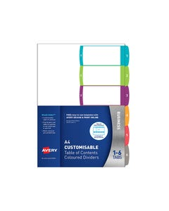 AVERY 922003 L7411-6 CUSTOMISABLE TABLE OF CONTENTS COLOURED DIVIDER 1-6 TAB A4