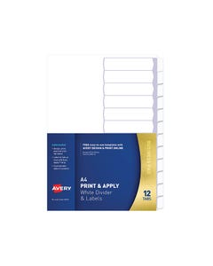 AVERY 930114 L7455-12 PRINT & APPLY DIVIDER WITH EASY APPLY LABELS 1-12 TAB WHITE