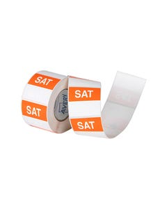 AVERY 937341 REMOVABLE DAY LABEL SATURDAY 40 X 40MM ORANGE/WHITE BOX 500