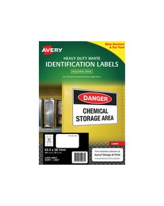 AVERY 959064 L7060 HEAVY DUTY LASER LABELS 21UP WHITE PACK 25