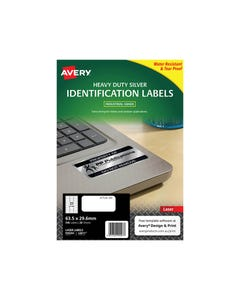 AVERY 959202 L6011 HEAVY DUTY LASER LABELS 27UP SILVER PACK 20