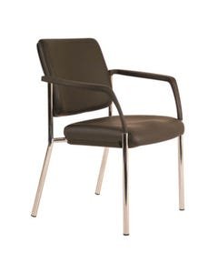BURO LINDIS 4-LEG VISITOR CHAIR UPHOLSTERED BACK WITH ARMS DILLON PU BLACK