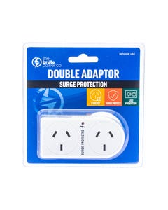 THE BRUTE POWER CO DOUBLE ADAPTOR FLAT LEFT WITH SURGE PROTECTION