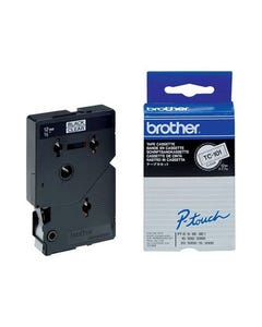 BROTHER TC-101 LAMINATED LABELLING TAPE 12MM BLACK ON CLEAR
