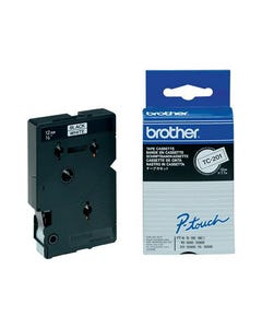 BROTHER TC-201 LAMINATED LABELLING TAPE 12MM BLACK ON WHITE