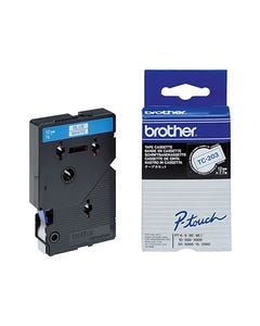 BROTHER TC-203 LAMINATED LABELLING TAPE 12MM BLUE ON WHITE