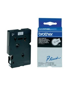 BROTHER TC-291 LAMINATED LABELLING TAPE 9MM BLACK ON WHITE