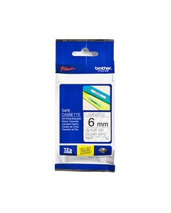 BROTHER TZE-111 LAMINATED LABELLING TAPE 6MM BLACK ON CLEAR