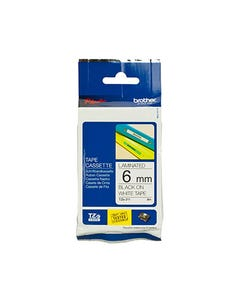 BROTHER TZE-211 LAMINATED LABELLING TAPE 6MM BLACK ON WHITE