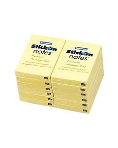 STICK ON NOTES 100 SHEETS 50 X 76MM YELLOW PACK 12