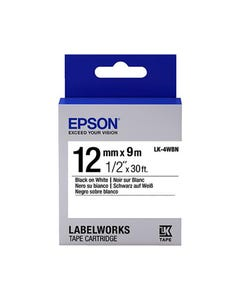 EPSON LABELWORKS LK TAPE 12MM X 9M BLACK ON WHITE