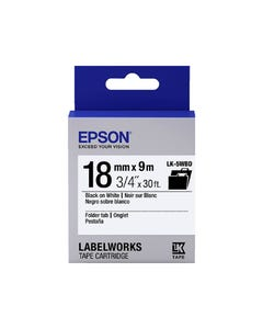 EPSON LABELWORKS LK TAPE 18MM X 9M BLACK ON WHITE