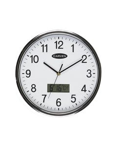 CARVEN WALL CLOCK LCD DATE 285MM SILVER FRAME