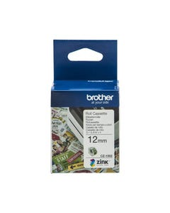 BROTHER CZ1002 LABEL ROLL 12MM X 5M WHITE