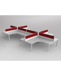 AXIS CORNER DESK SETTING 8 STAFF 90 DEGREE LAYOUT WHITE WORKTOP WITH CABLE MANAGEMENT 1800 X 1800 X 750MM WHITE FRAME AXIS SPLIT E-PANEL IGNITE E-PANEL (RED) SCREEN