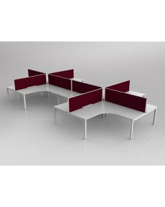 AXIS CORNER DESK SETTING 8 STAFF 90 DEGREE LAYOUT WHITE WORKTOP WITH CABLE MANAGEMENT 1800 X 1800 X 750MM WHITE FRAME AXIS BREATHE RUBY RED SCREEN
