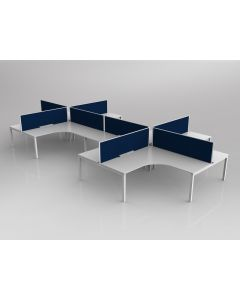 AXIS CORNER DESK SETTING 8 STAFF 90 DEGREE LAYOUT WHITE WORKTOP WITH CABLE MANAGEMENT 1800 X 1800 X 750MM WHITE FRAME AXIS BREATHE STEEL BLUE SCREEN