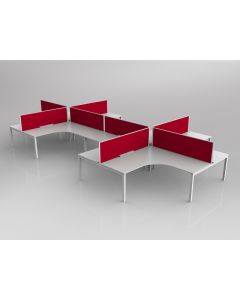 AXIS CORNER DESK SETTING 8 STAFF 90 DEGREE LAYOUT WHITE WORKTOP WITH CABLE MANAGEMENT 1800 X 1800 X 750MM WHITE FRAME AXIS BREATHE TOMATO RED SCREEN