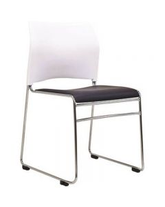 BURO MAXIM SLED VISITOR CHAIR STACKABLE LINKABLE VINYL WHITE WITH BLACK SEAT