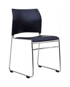 BURO MAXIM SLED VISITOR CHAIR STACKABLE LINKABLE VINYL BLACK