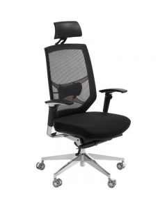 ACE MILSON MANAGERS HIGH MESH BACK CHAIR WITH HEAD REST AND ARMS BLACK