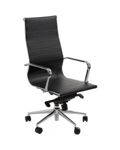 ACE ASTORIA MANAGER'S CHAIR HIGH BACK POLISHED ALUMINIUM BASE WITH ARMS BLACK BONDED LEATHER UPHOLSTERY