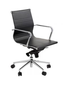 ACE ASTORIA MANAGER'S CHAIR LOW BACK POLISHED ALUMINIUM BASE WITH ARMS BLACK BONDED LEATHER UPHOLSTERY