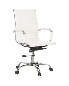 ACE ASTORIA MANAGER'S CHAIR LOW BACK POLISHED ALUMINIUM BASE WITH ARMS WHITE BONDED LEATHER UPHOLSTERY