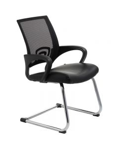 ACE VIEW VISITOR CHAIR WITH ARMS BLACK MESH BACK CANTILEVER CHROME FRAME BLACK BONDED LEATHER UPHOLSTERY SEAT