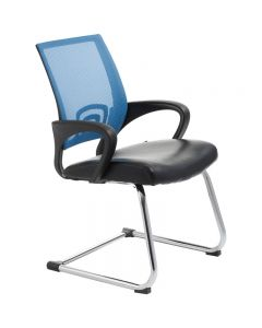 ACE VIEW VISITOR CHAIR WITH ARMS BLUE MESH BACK CANTILEVER CHROME FRAME BLACK BONDED LEATHER UPHOLSTERY SEAT