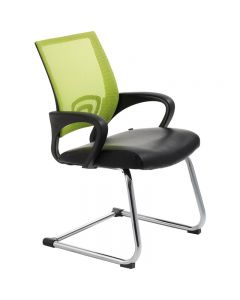 ACE VIEW VISITOR CHAIR WITH ARMS GREEN MESH BACK CANTILEVER CHROME FRAME BLACK BONDED LEATHER UPHOLSTERY SEAT