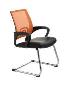 ACE VIEW VISITOR CHAIR WITH ARMS ORANGE MESH BACK CANTILEVER CHROME FRAME BLACK BONDED LEATHER UPHOLSTERY SEAT