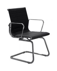 AERO VISITOR CHAIR WITH ARMS LEATHER BLACK