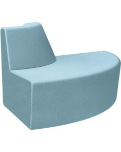 FINESEAT AURA LIGHT LOUNGE CONVEX SOLID TIMBER FRAME FIXED CUSHIONS SKY FABRIC