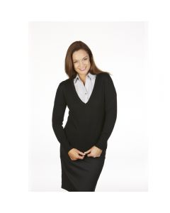 MTF Ladies Extended V-Neck Pullover With Deep Rib Basque