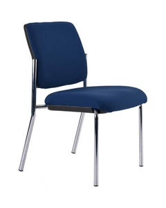 BURO LINDIS 4-LEG VISITOR CHAIR UPHOLSTERED BACK NO ARMS JETT FABRIC DARK BLUE