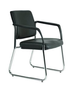 BURO LINDIS SLED VISITOR CHAIR UPHOLSTERED BACK WITH ARMS JETT FABRIC BLACK