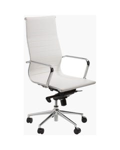 ACE ASTORIA MANAGER'S CHAIR HIGH BACK POLISHED ALUMINIUM BASE WITH ARMS WHITE BONDED LEATHER UPHOLSTERY